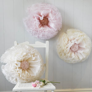 Three Blush And Ivory Ombré Paper Flowers - room decorations