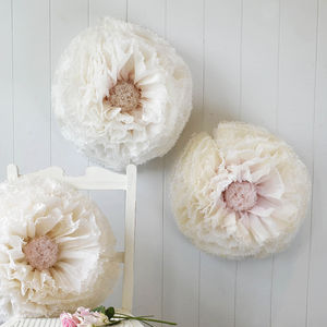 Three Ivory, Nude And Blush Paper Flowers - room decorations
