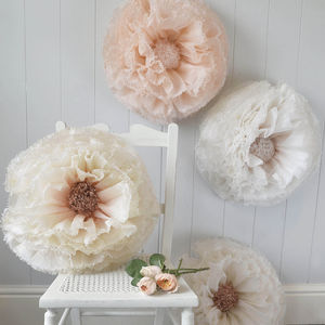 Three Copper, Peach And Ivory Paper Flowers - room decorations