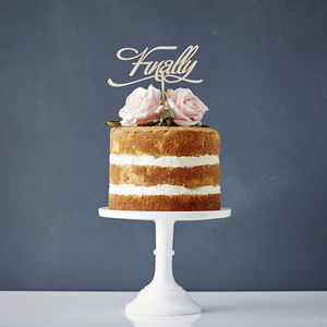Elegant 'Finally' Wooden Wedding Cake Topper - table decorations