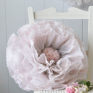 Giant Hand Dyed Dove Grey And Blush Ombré Paper Flower