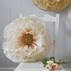 Hand Dyed Nude And Ivory Ombré Paper Flower - christmas hanging decorations