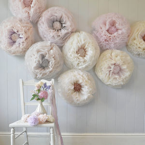 Nine Pale Neutral Hand Dyed Paper Flowers - room decorations