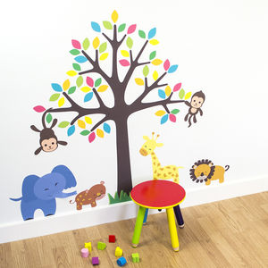 Safari Animals And Tree Wall Sticker - wall stickers