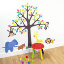 Safari Animals And Tree Wall Sticker