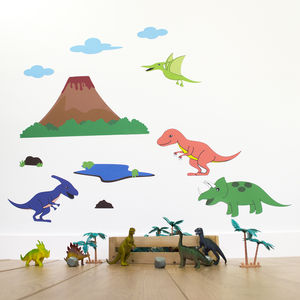 Dinosaur Scene Wall Sticker Set - home accessories