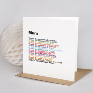 'Mum' Rainbow Poem Card