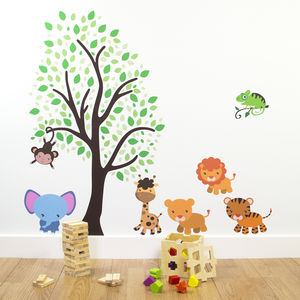 Tree With Jungle Animals Wall Sticker - baby & child sale