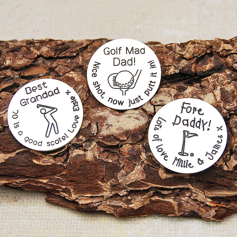 ball markers. sterling silver personalised golf ball marker markers