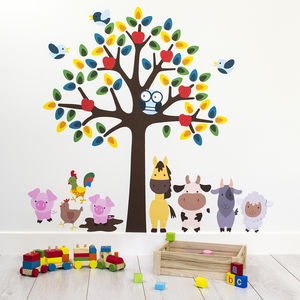 Tree With Farm Animals Wall Sticker - children's room accessories