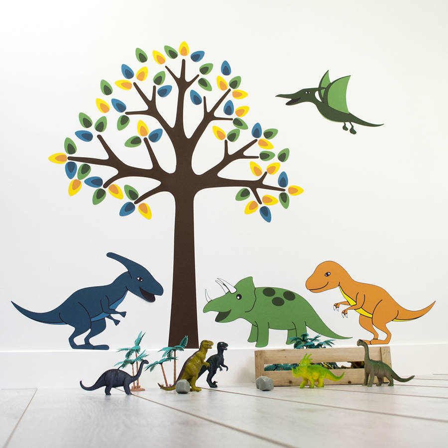 Tree With Dinosaurs Wall Sticker By Mirrorin