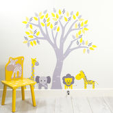 Pastel Tree With Jungle Animals Wall Stickers - prints & art