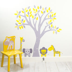 Pastel Tree With Jungle Animals Wall Stickers - wall stickers
