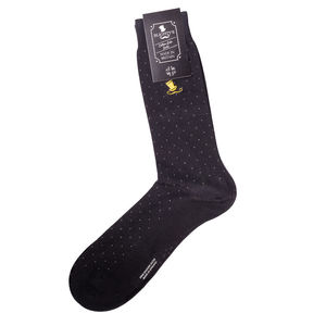 Men's Pin Dot Cotton Socks With Moustache Motif
