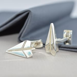Sterling Silver Paper Plane Cufflinks - 1st anniversary: paper