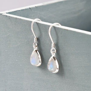 Sterling Silver Moonstone Teardrop Earrings - wedding jewellery