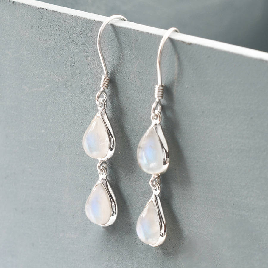 Sterling Silver Double Moonstone Teardrop Earrings