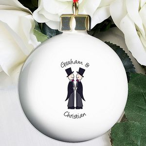 Male Same Sex Wedding Day Personalised Bauble