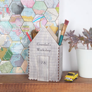 Personalised Coloured Garden Shed Desk Tidy - office & study