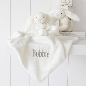 Personalised Cream Bunny Soother And Rattle Set - baby care