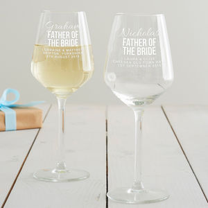 Personalised Father Of The Bride Wine Glass - tableware