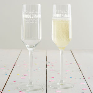 Personalised Bridesmaid Champagne Flute - table decorations