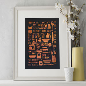 Personalised Copper Cooking Print