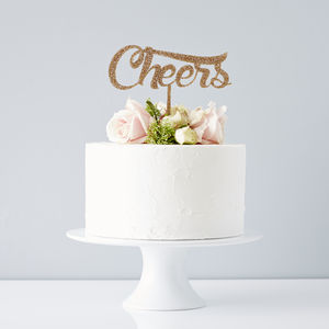 'Cheers' Wedding Cake Topper
