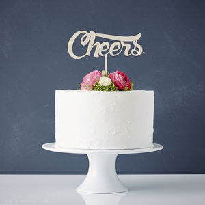 'Cheers' Wooden Wedding Cake Topper