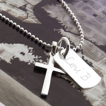 Personalised Sterling Silver Cross And Dogtag Necklace