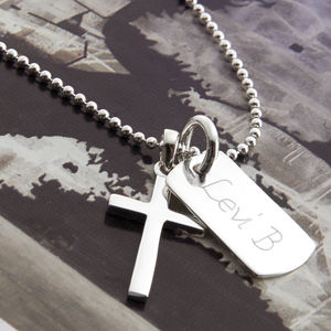 Personalised Silver Cross And Mini Dogtag Necklace - men's jewellery