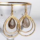 Gold And Smokey Quartz Multi Hoop Earrings