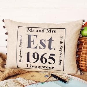 Anniversary Date Cushion - 4th anniversary: linen
