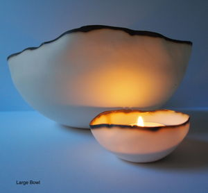 Porcelain Tea Light Bowl - candles & candle holders
