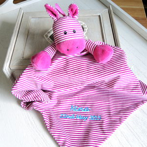 Personalised Babies' Pink Stripe Pony Comforter - blankets, comforters & throws