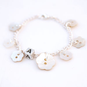 Personalised Mother Of Pearl Flower Bracelet - bracelets & bangles