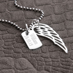 Personalised Sterling Silver Wing And Dogtag Pendant - personalised jewellery