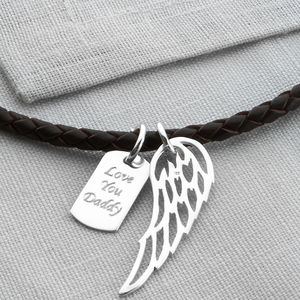 Personalised Silver Wing And Dogtag Leather Necklet - personalised