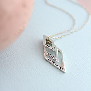 Personalised Family Names Geometric Necklace - wedding fashion
