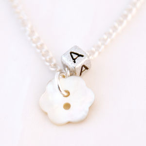 Personalised Mother Of Pearl Flower Necklace