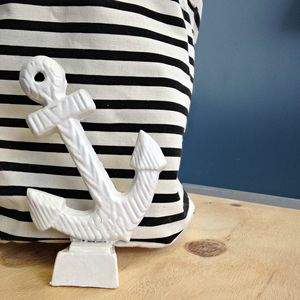 White Iron Anchor Door Stop - decorative accessories