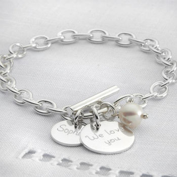 Personalised Solid Sterling Silver Charm Bracelet