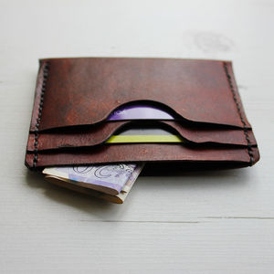 Leather Card Wallet With Notes Compartment - birthday gifts