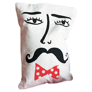 Moustached Man Cushion - living room