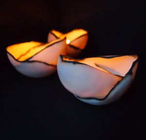 Double Porcelain Tea Light Shell