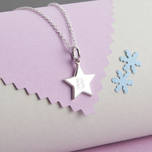 Girl's Personalised Sterling Silver Star Charm Necklace - children's jewellery