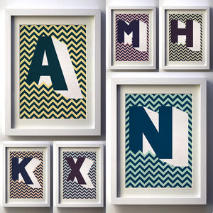 Personalised, Initial Letter Chevron Giclée Print - shop by price
