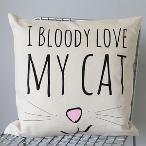 'Bloody Love My Cat' Cushion Cover - bedroom