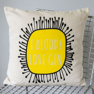 'I Bloody Love Gin' Cushion Cover - bedroom