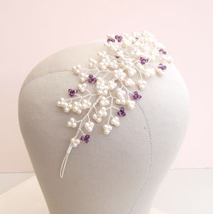 Babies Breath Amethyst Pearl Bridal Side Tiara - wedding fashion